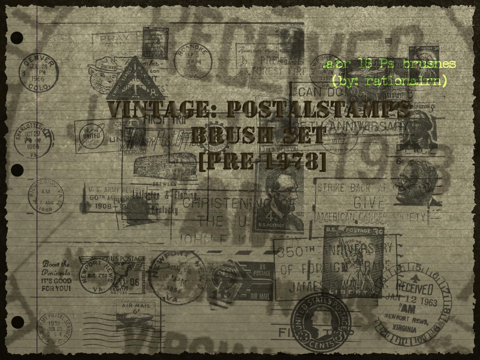 Vintage: postage stamps brushes