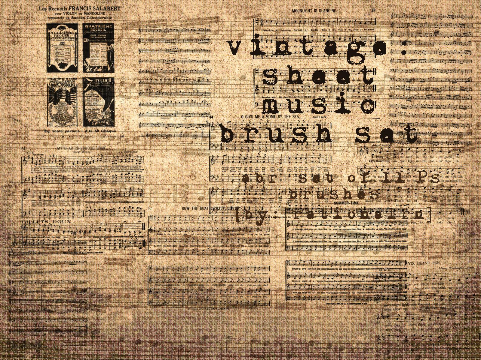 vintage sheet music brushes