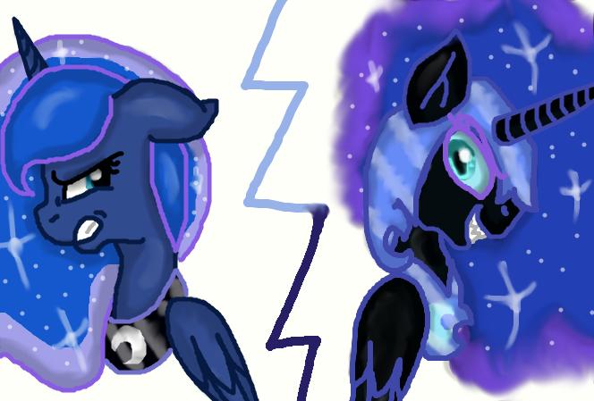 Luna VS Nightmare Moon by raelin11