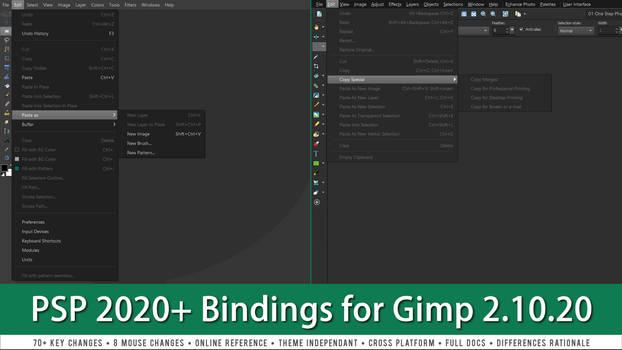 PaintShop Pro 2020 Shortcuts for Gimp 2.10.20