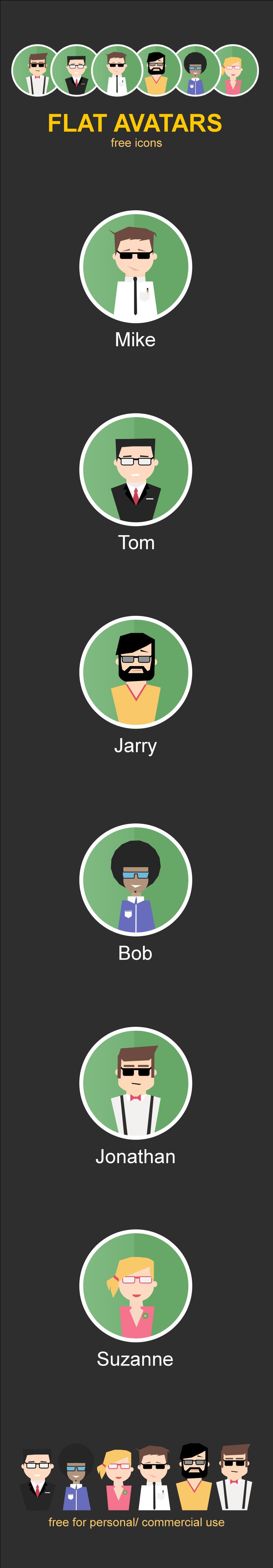 Flat avatars icons