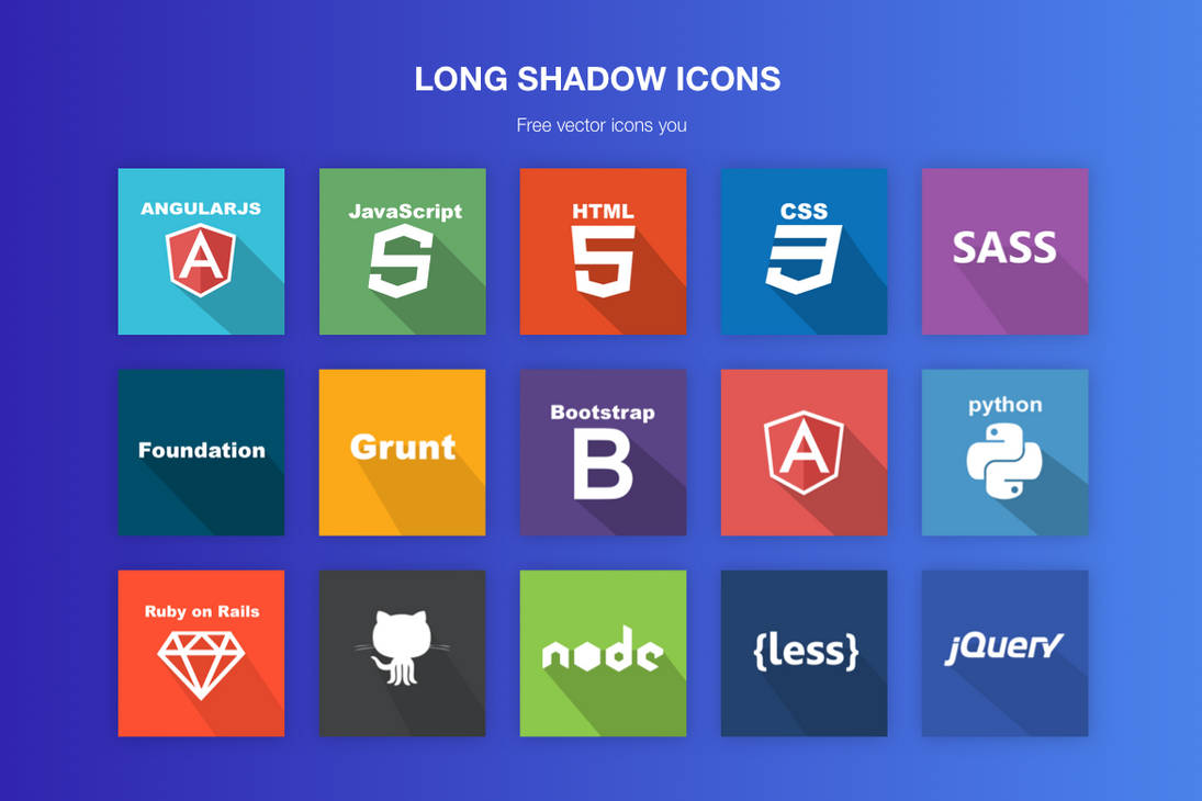 Free vector flat/ long shadow icons by jozef89 on DeviantArt