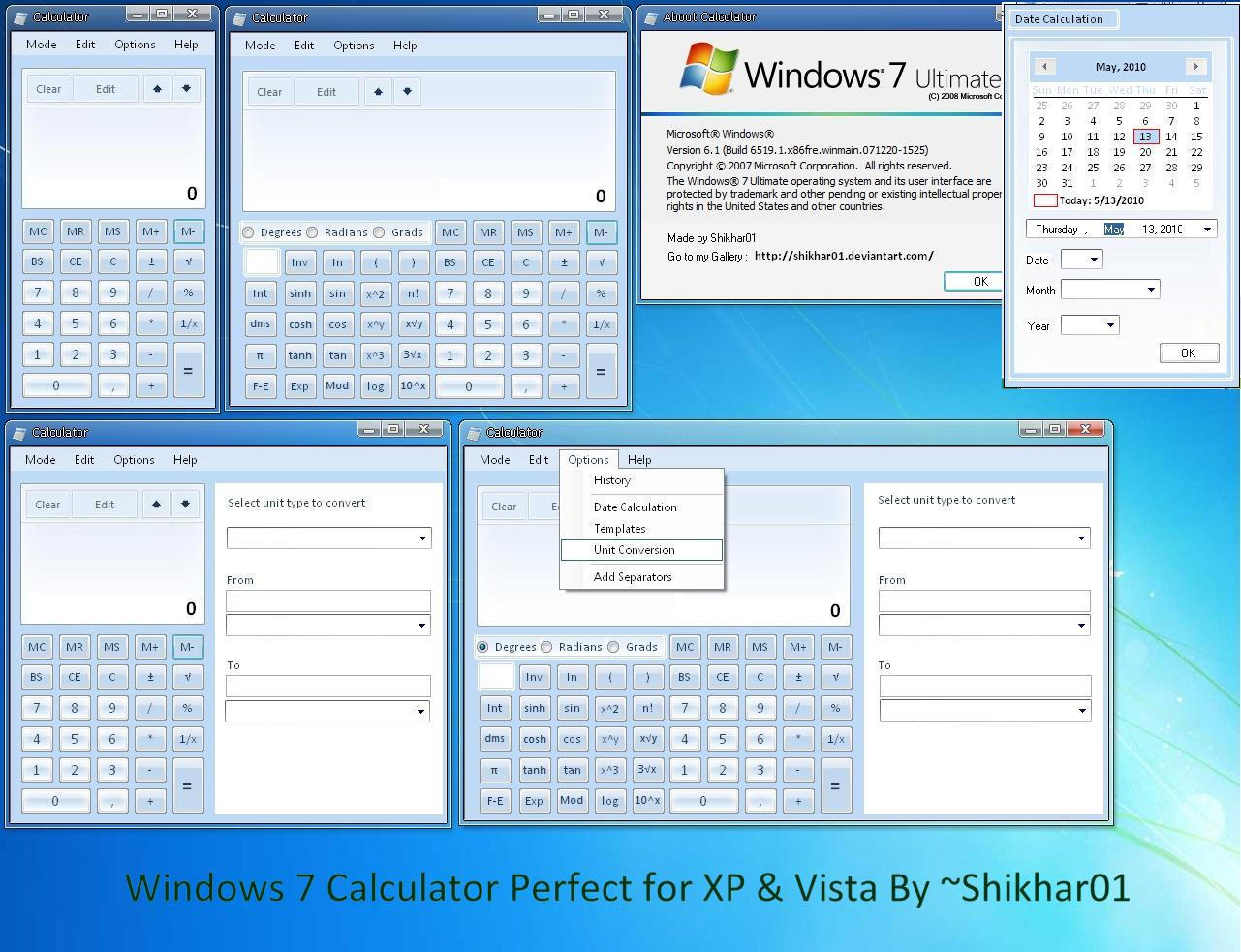 Win7 Calculator for XP, Vista by ShikharSrivastava