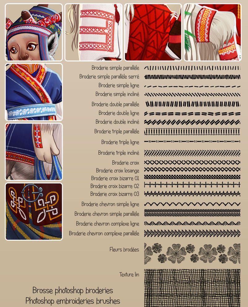 Photoshop brushes : Embroderies by kineko