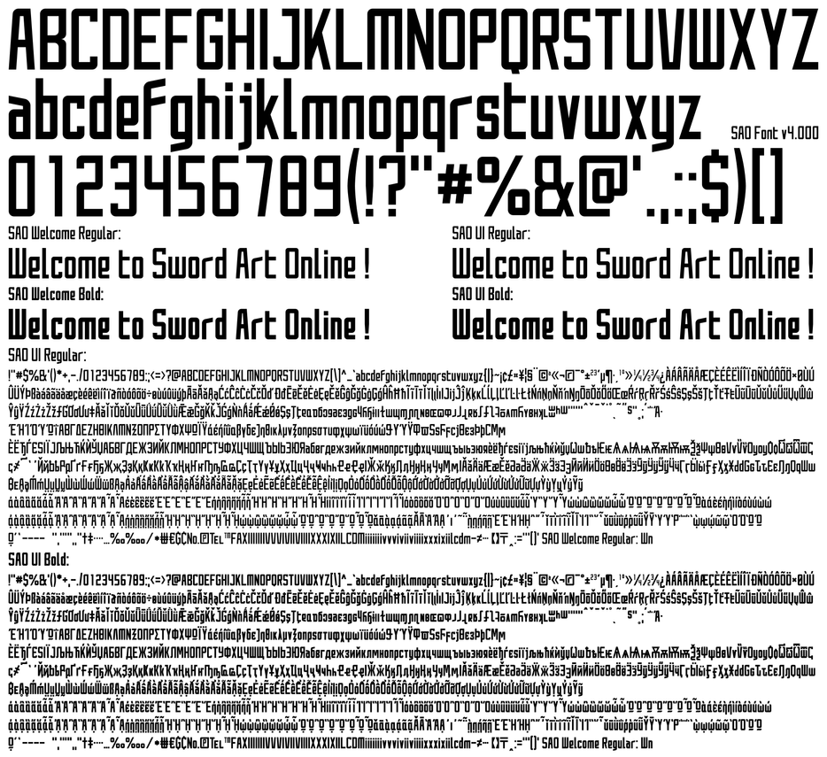 Sword Art Online Font Download by darkblackswords