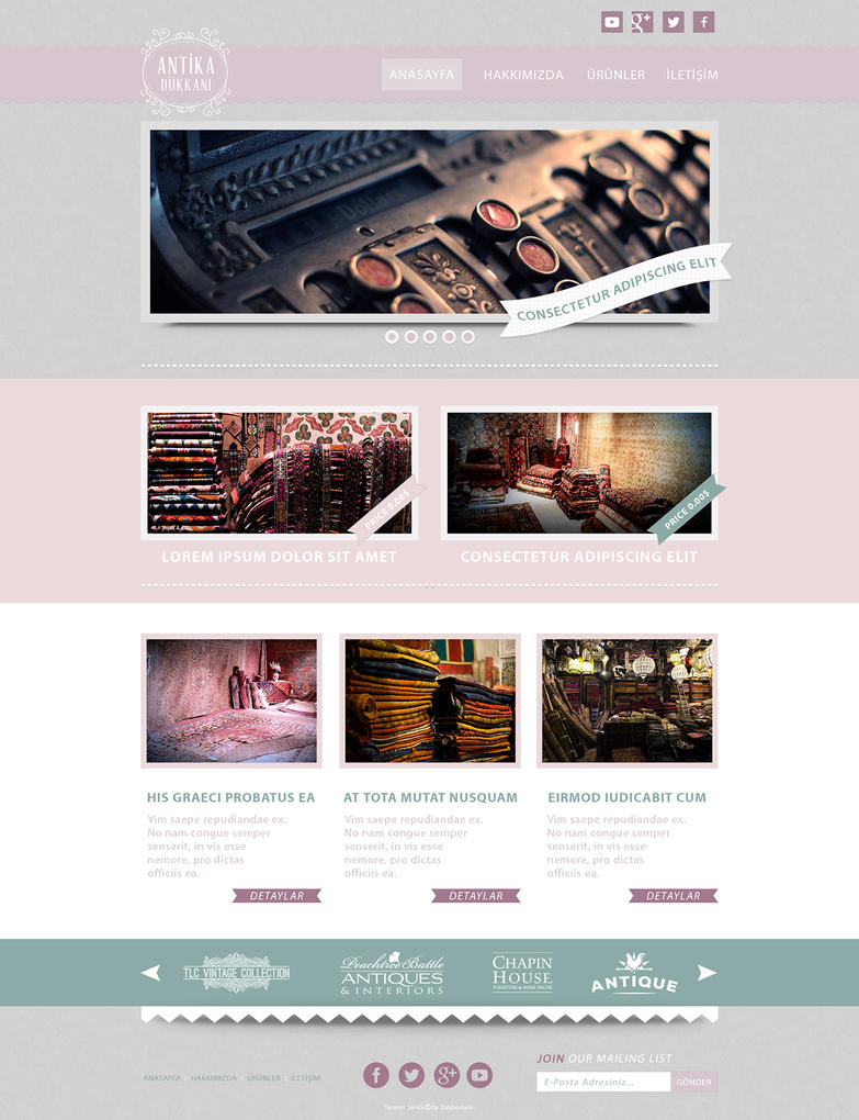 Retro Style Antique Shop Onepage Website PSD Theme by dabbex30