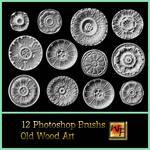12 Round Old Wood Art Brushs