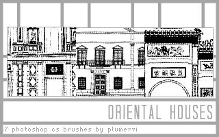7 Oriental Houses Brushes by plumerri