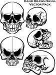 hand drawn skull vector pack