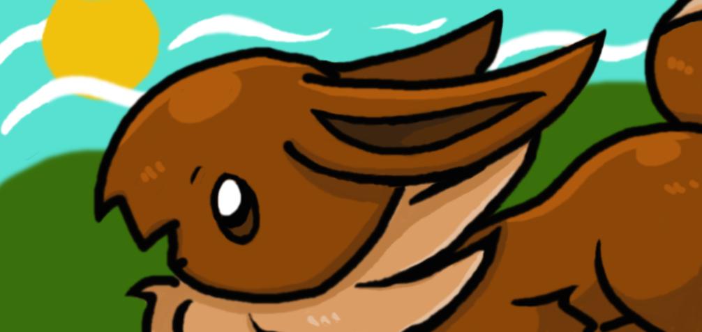 Running Eevee by AmyKittenFox