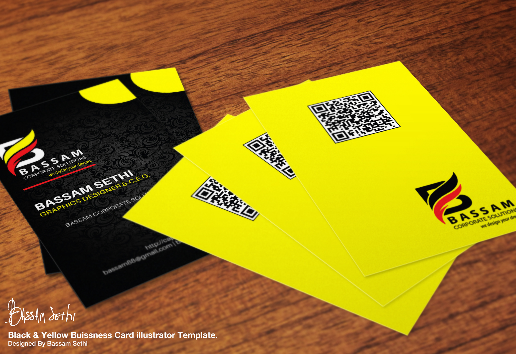 Black And Yellow Business Card Design by Cap-Bassam on DeviantArt