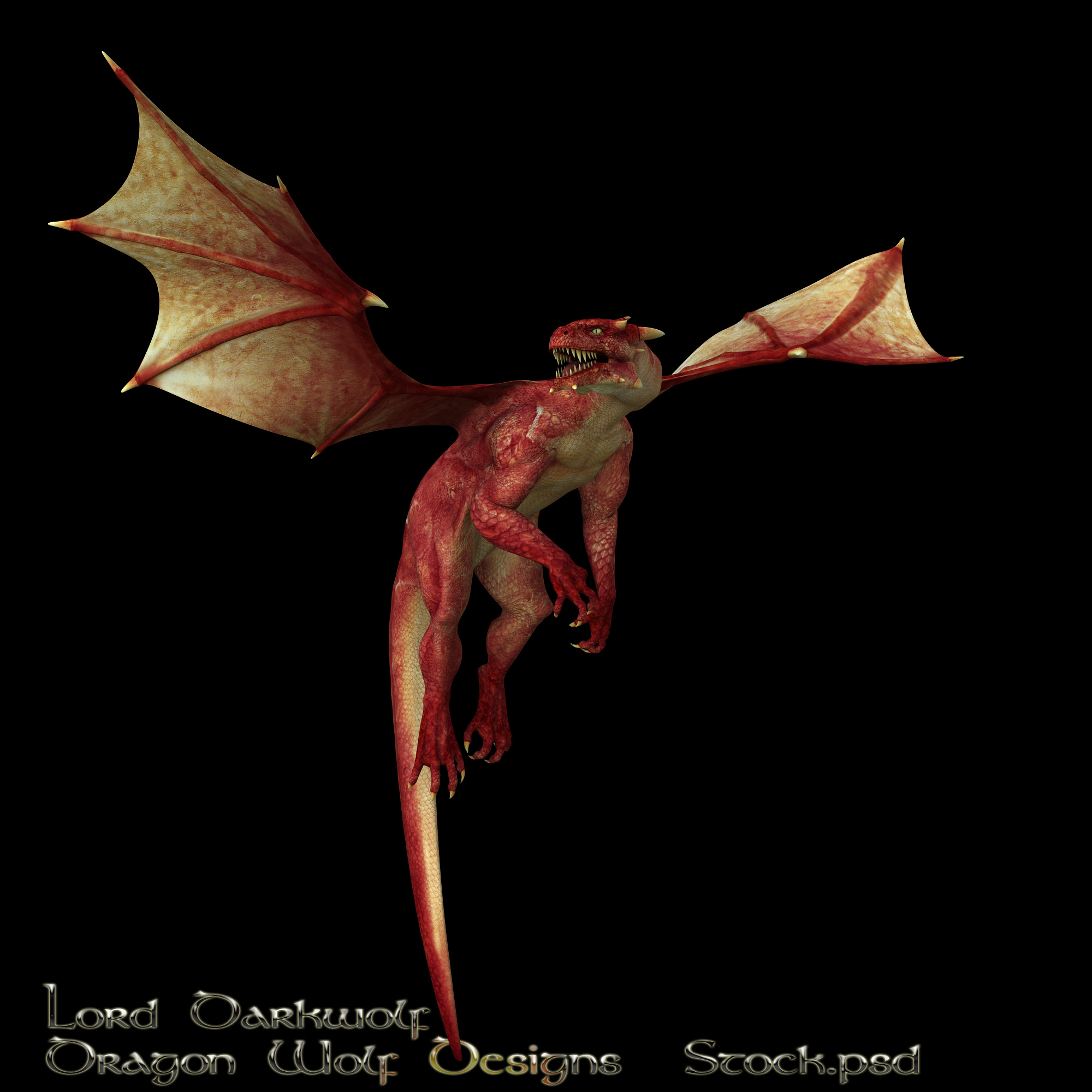 Red Dragon stock three by lorddarkwolf