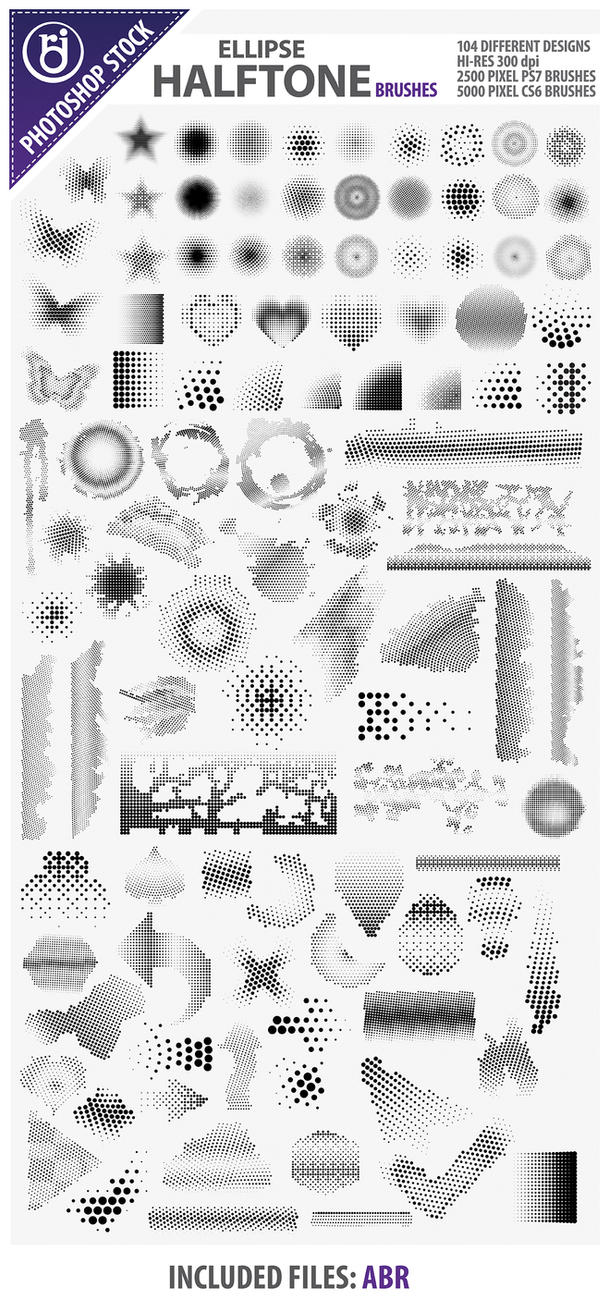 104 Halftone Brushes by rjDezigns
