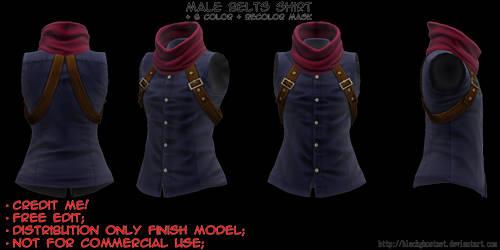 [MMD] Male Belts Shirt [DL]