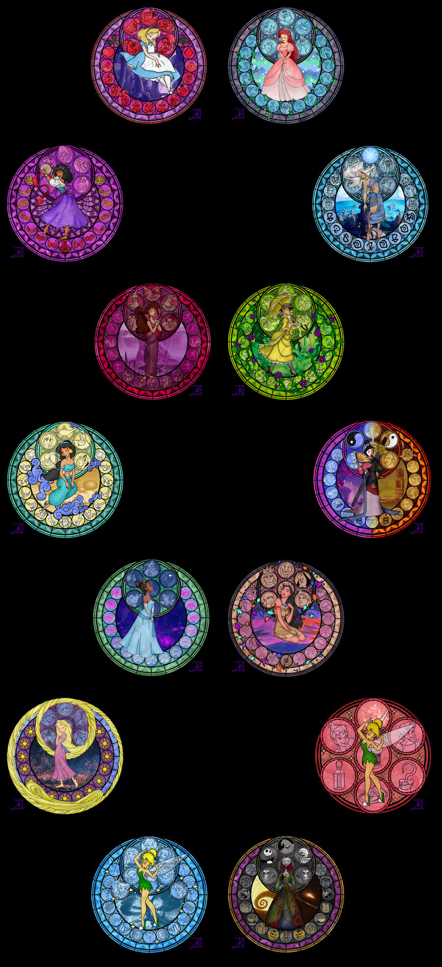 Disney Princess Stained Glass Wallpapers by Akili-Amethyst