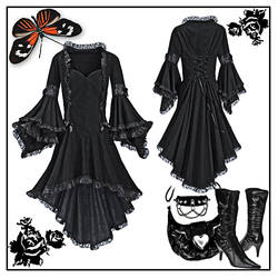 gothic black dress psd