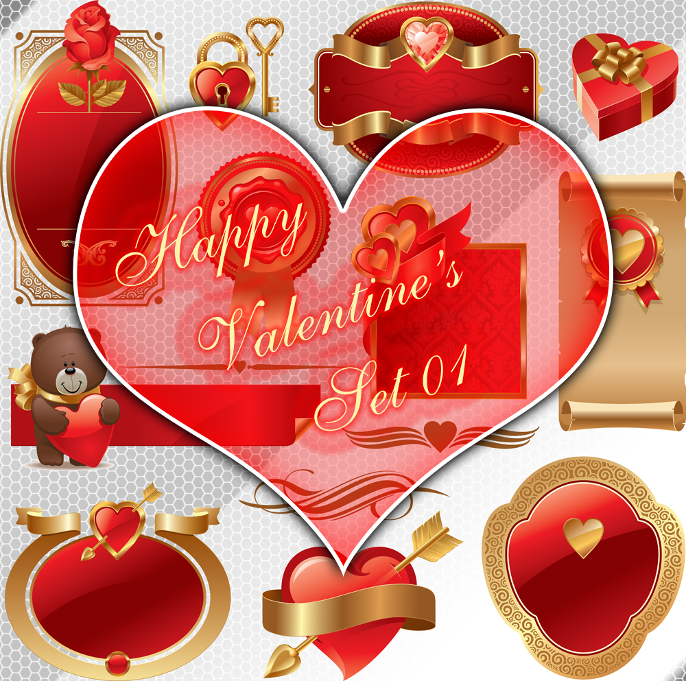 Happy Valentine's PNG Set 01 by noema-13