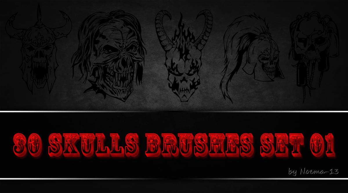 30 Skulls Brushes Set 01 by noema-13
