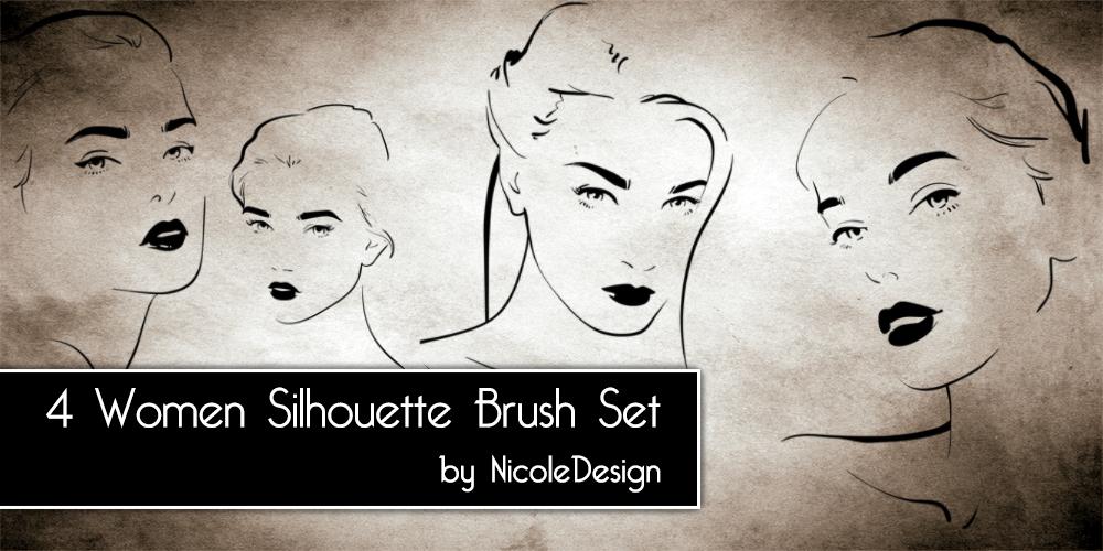 4 Women Silhouette Brush Set by noema-13