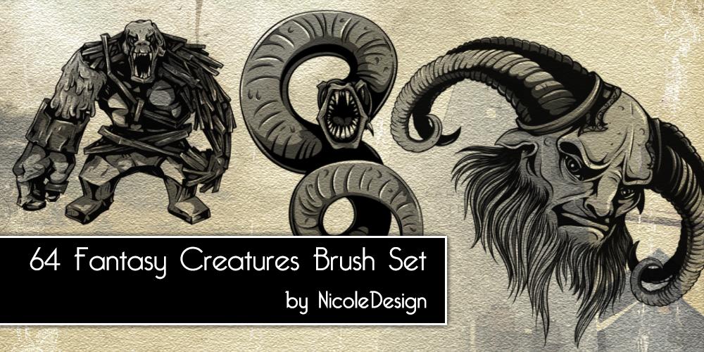 64 Fantasy Creatures Brush Set by noema-13