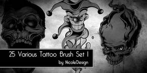 25 Various Tattoo Brush set 1