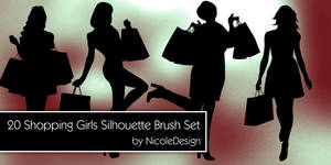 20 Shopping Girls Silhouette Brush Set by noema-13
