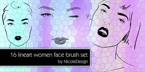 16 Women Lineart Brush Set 1