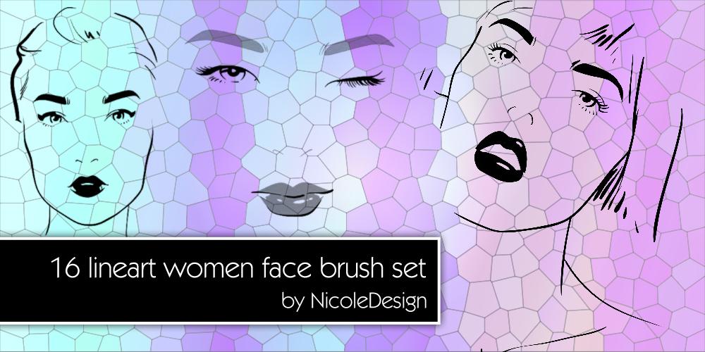 16 Women Lineart Brush Set 1 by noema-13
