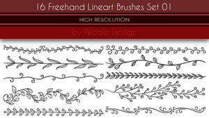 16 Freehand Lineart Brushes Set 01