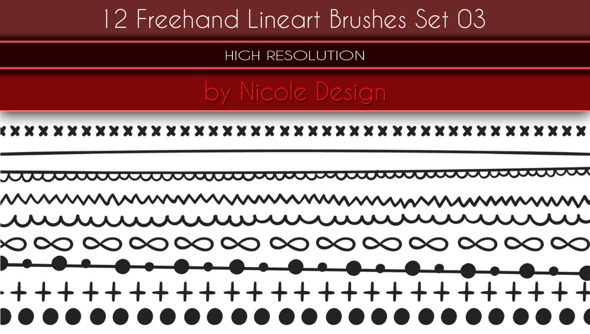 12 Freehand Lineart Brushes Set 03 by noema-13
