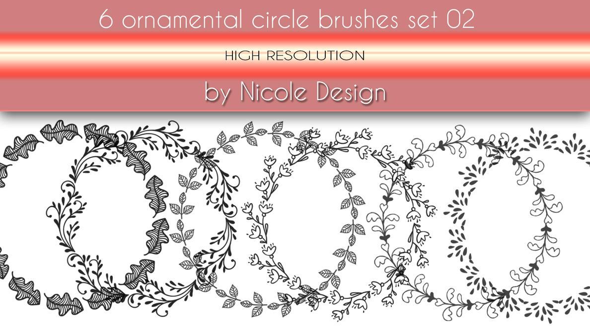6 Ornamental Circle Brushes Set 02 by noema-13