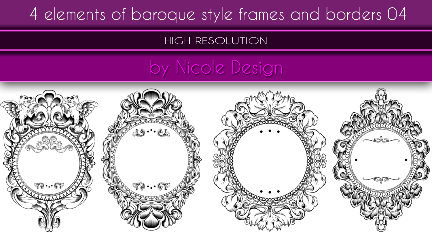 4 Elements Of Baroque Style Frames And Borders 04 by noema-13