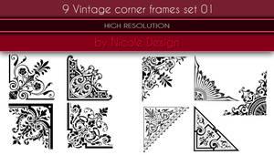 9 Vintage corner frames set 01