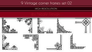 9 Vintage corner frames set 02