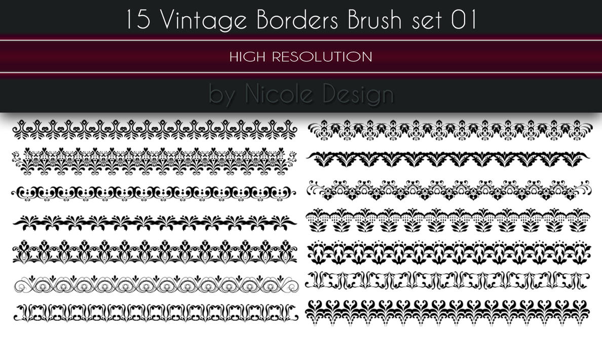 15 Vintage Borders Brush set 01 by noema-13