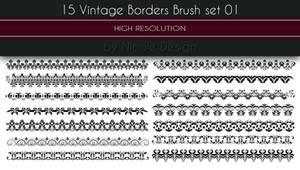15 Vintage Borders Brush set 01