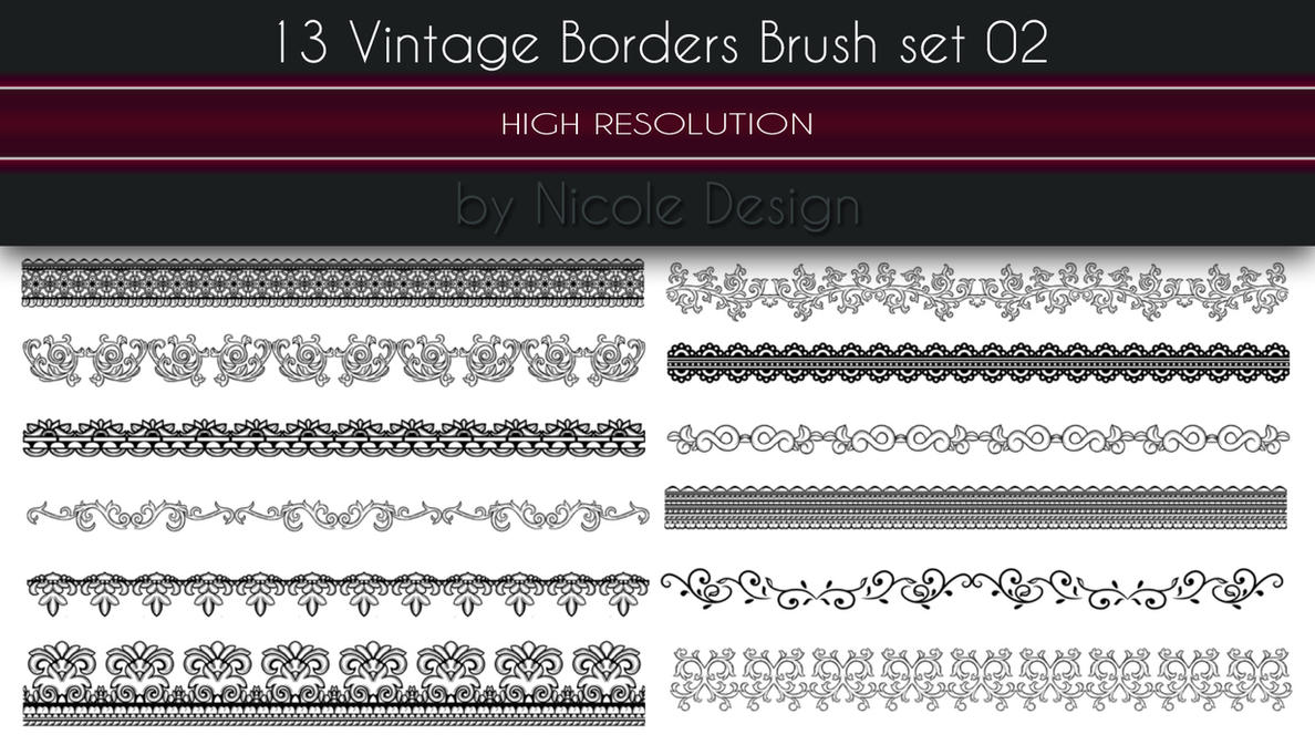 13 Vintage Borders Brush set 02 by noema-13