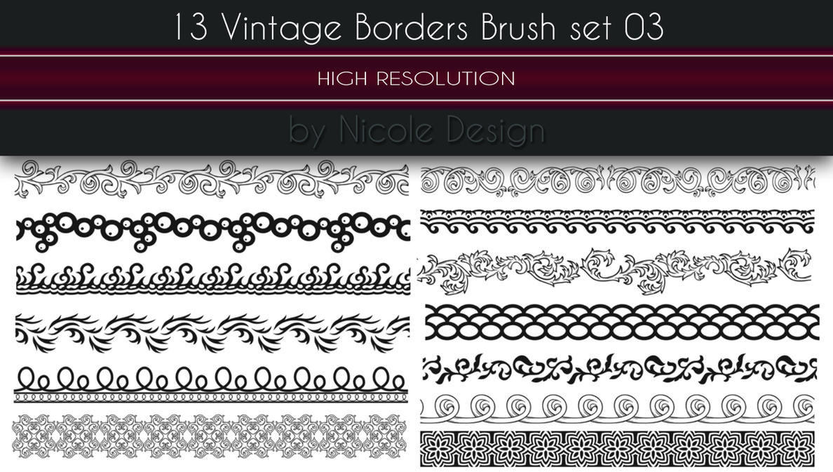 13 Vintage Borders Brush set 03 by noema-13