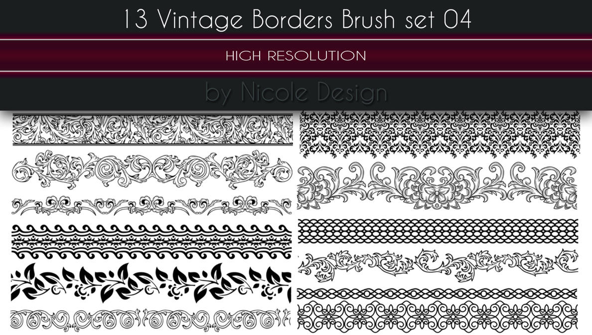 13 Vintage Borders Brush set 04 by noema-13