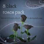 8 Black Roses Pack