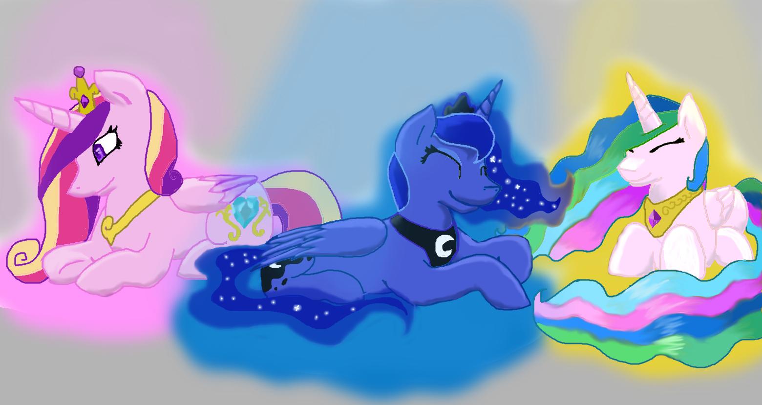 Cadence,Luna,and Celestia by halothekittycat