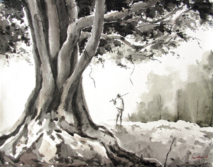 Painting a Tree in Watercolor by asbiswas
