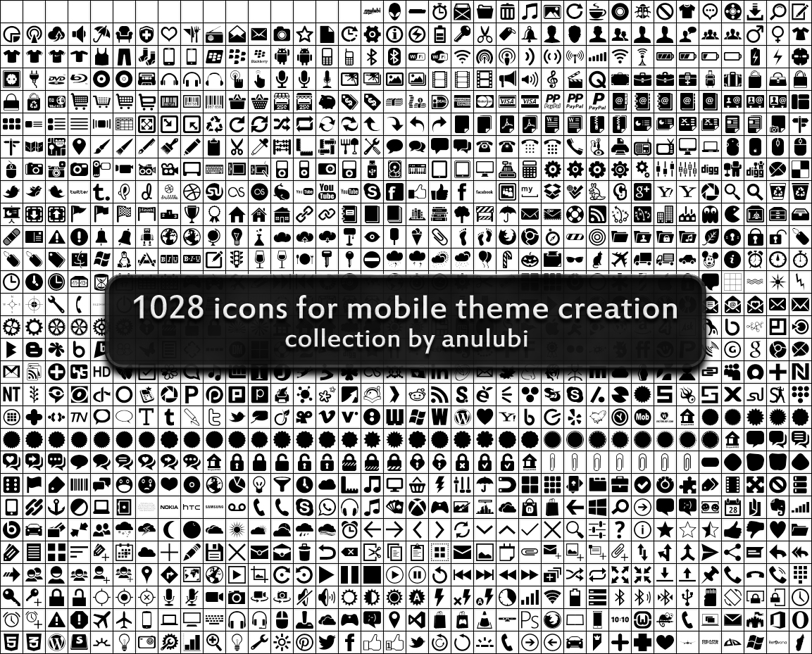 1028 icons (custom shapes for photoshop) by anulubi