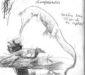 Champsosaurus and Rauisuchid sketch