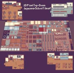 2D [JAPAN SCHOOL] PIXEL TOP-DOWN TILESET 16x16
