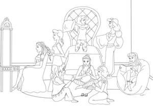 DisneyPrincessSleepoverLineart