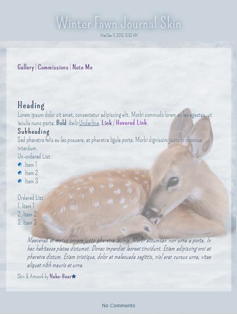 Winter Fawn Journal Skin by Neko-Bear