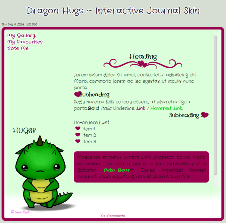 Dragon Hugs ~ Interactive Journal Skin by Neko-Bear