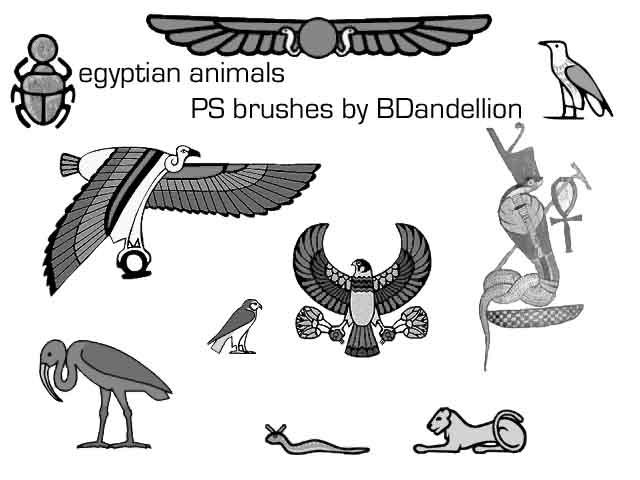 egyptian brushes animals by dandellionstock