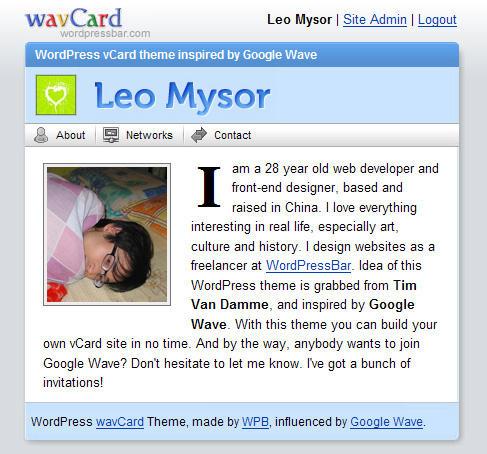 free WordPress theme: wavCard by myst729